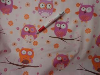 Gyerekmintás vászon, rózsaszín-narancs baglyos (2400)