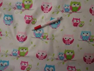 Gyerekmintás vászon, rózsaszín-zöld-kék baglyos (2510)