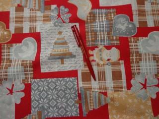 Piros-szürke-drapp karácsonyi vászon (2586-3)
