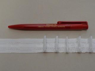 Függönybehúzó szalag, fehér, ceruzás, 2,5 cm széles (2684)