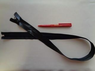 80 cm-es vízálló cipzár, fekete (2767)