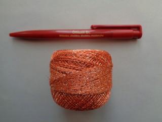 Ezüst szállal átszőtt horgolócérna, narancs (2722-3)