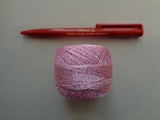 Ezüst szállal átszőtt horgolócérna, rózsaszín (2722-6)