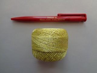 Ezüst szállal átszőtt horgolócérna, sárga (2722-7)