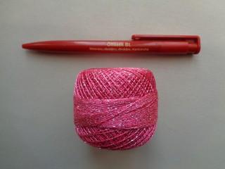 Ezüst szállal átszőtt horgolócérna, pink (2722-9)