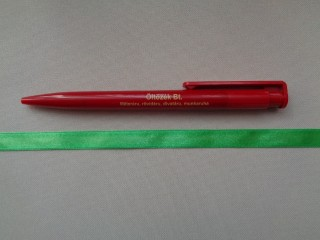 1 cm széles szatén szalag, fűzöld (2674-9)