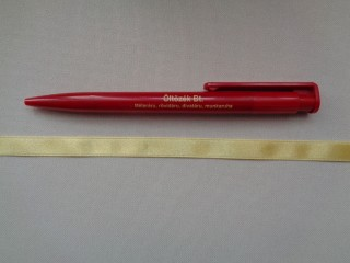 1 cm széles szatén szalag, halvány sárga (2674-31)