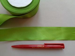 4 cm széles szatén szalag; fűzöld (2844-2)