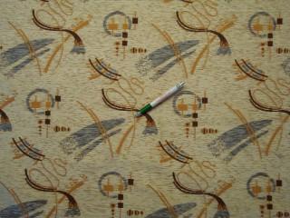 Beige alapon hullám-geometriai mintás zsenília bútorszövet (2847)