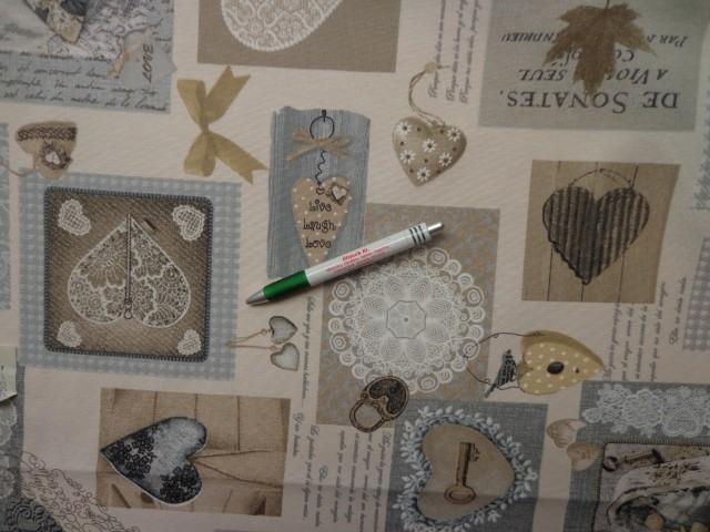 Loneta, kulcsos-szíves, szürke, kerti bútor vászon (2586-8)