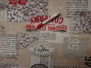 Loneta, kávés, piros feliratos, kerti bútor vászon (2586-15)