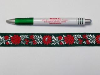 2,5 cm széles hímzett szalag, zöld (2979)