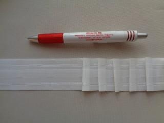 Függönybehúzó szalag, fehér, ceruzás, 4 cm széles (2684-1)