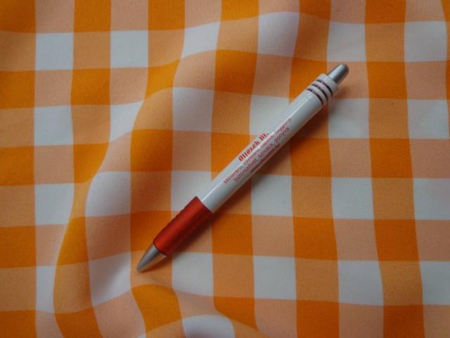 Kockás minimatt szövet, narancs-fehér (3184)
