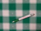 Kockás minimatt szövet, zöld-fehér, hímzett (3188)