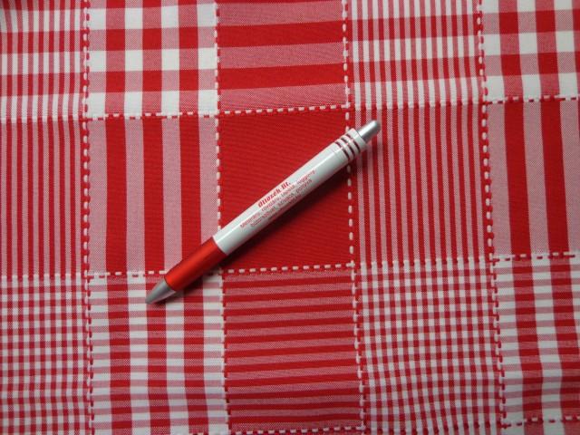 Nagykockás minimatt szövet, piros-fehér (3189)
