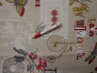 Loneta, lepke-szitakötő-bicikli mintás kerti bútor vászon (3517)