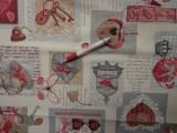 Loneta, kulcsos-szíves, bordó, kerti bútor vászon (3524)