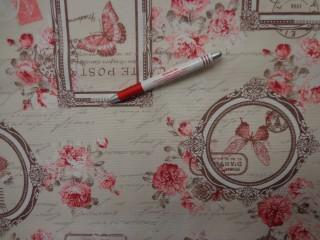 Loneta, rózsaszín rózsás-lepkés kerti bútor vászon (3530)
