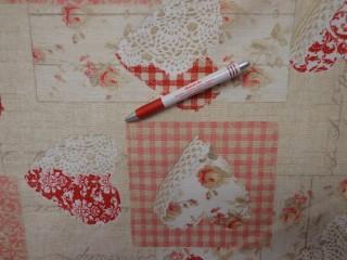 Loneta, piros szíves-csipkés-rózsás kerti bútor vászon (3533)
