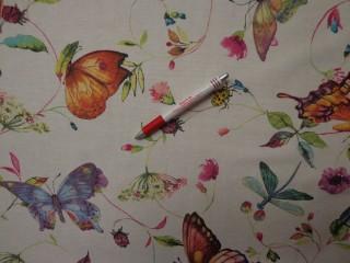 Loneta, színes pillangós kerti bútor vászon (3544)