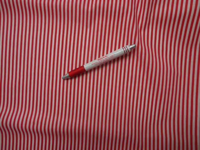 Mintás pamutvászon, piros-fehér csíkos (3841)