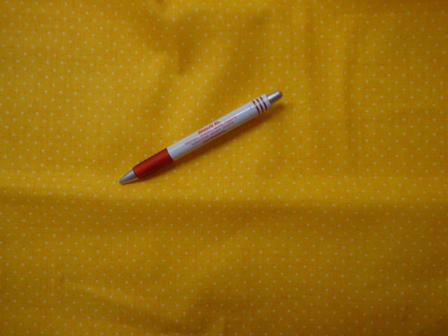 Mintás pamutvászon, sárga alapon fehér tűpettyes (3855)