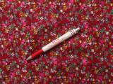 Mintás pamutvászon, bordó alapon pink virágos (3896)