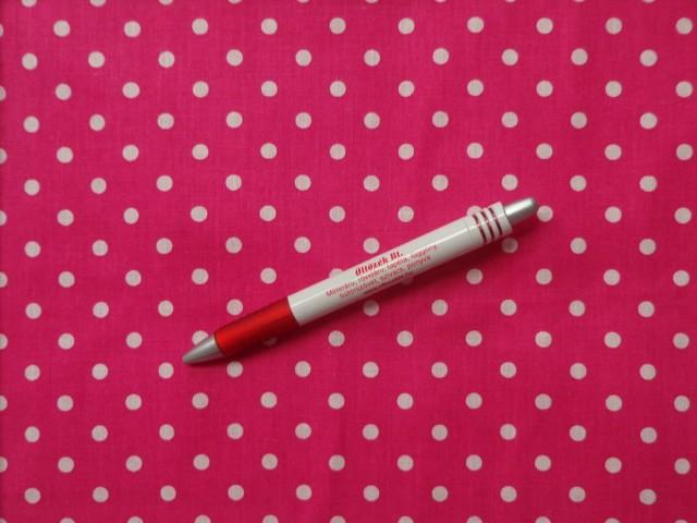 Mintás pamutvászon, pink alapon fehér babos-pöttyös (3897)