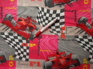 Gyerekmintás pamutvászon, F1 autós (4138)