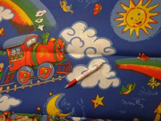 Gyerekmintás vászon, vonatos (4141)