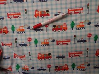 Gyerekmintás vászon, kockás, autós (4142)