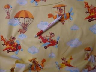 Gyerekmintás vászon, sárga alapon repülős (4143)