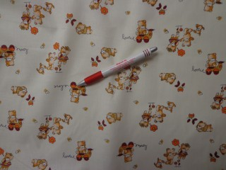 Gyerekmintás vászon, vajszínű alapon macis (4146)