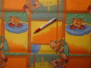 Gyerekmintás vászon, párnás, macis (4148)