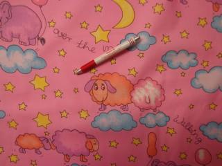 Gyerekmintás vászon, rózsaszín, felhős, baris (4153)
