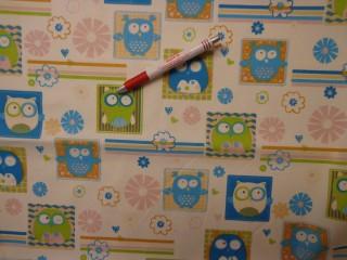 Gyerekmintás vászon, kék-zöld baglyos (4159)