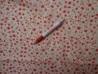 Mintás vászon, sárga alapon piros virág (4208)