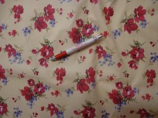 Mintás vászon, piros-lila virágos (4222)