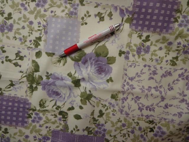 Mintás vászon, vaj alapon lila nagy rózsás (4229)