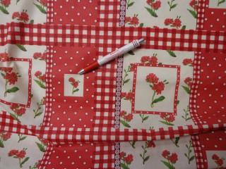 Mintás karton, piros pöttyös-kockás-virágos (4240)