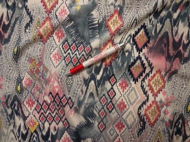 Sztreccs muszlin, mályva-szürke rombuszos, háromszöges (4284)