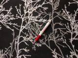Jackard szövet, fekete alapon fehér minta (4298)