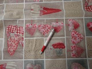 Loneta, bordó-piros szíves kerti bútor vászon (4357)