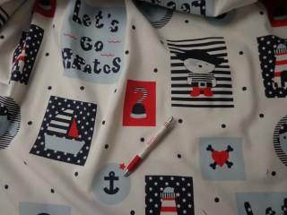 Loneta, kalózos, tengerész mintás, kerti bútor vászon (4359)