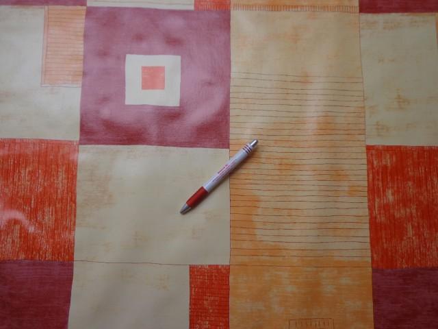 Viaszos vászon, vajszínű bordó-narancs kockás (4452)