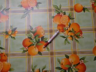 Viaszos vászon, narancsos, zöld (4453)