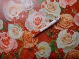 Viaszos vászon, eper-ribizlis rózsás (4465)