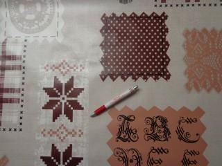 Viaszos vászon, drapp-barna nagy mintás, pöttyös (4466)