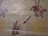 Viaszos vászon, vajszínű alapon nagy barna virág (4470)
